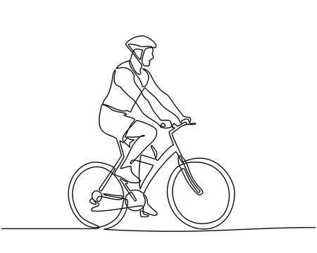 Continuous line drawings of Cyclist riding a bicycle isolated against white background. Sport fitness motivation and inspiration. Men's fitness sports athletes ride bicycles. Vector illustration