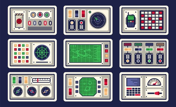 Control panel in spaceship with all kinds of controls. Vector illustration.