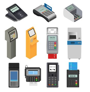Payment machine vector pos banking terminal for credit card to pay atm bank system machining for paying cardreader in store illustration isometric set isolated on white background