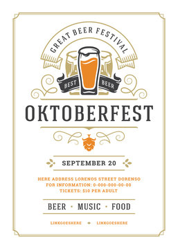 Oktoberfest flyer or poster retro typography template design willkommen zum beer fesival celebration vector illustration