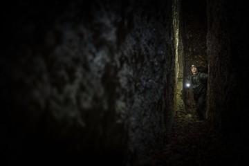 Wall Mural - Narrow Cave Expedition