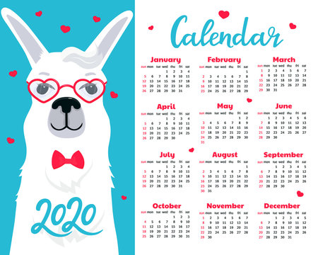 Calendar for 2020 from Sunday to Saturday. Cute llama in glasses and bow tie. Alpaca in love cartoon character. Valentine's Day. Funny animal.