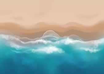 Vector beautiful realistic top view illustration of sandy summer beach - template for your poster of banner
