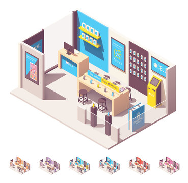 Vector isometric mobile phone operator shop