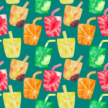 Watercolor seamless pattern with tropical cocktails, fruits, berries. Beach background for holiday card, menu, gift wrapping paper. Hand painted juice drinks illustration.