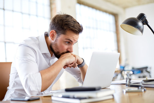 Young man worry about stock market