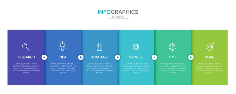Vector infographic label template with icons. 6 options or steps. Infographics for business concept. Can be used for info graphics, flow charts, presentations, web sites, banners, printed materials.