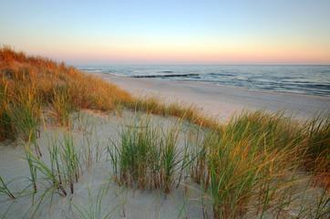 Wydmy piaskowe na wybrzeżu Morza Bałtyckiego.