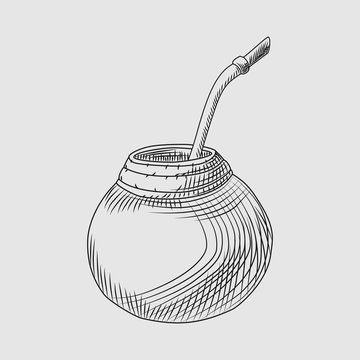 Calabash for yerba mate drink. Mate tea engraving style