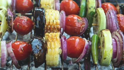 Fototapete - vegetables grill on wooden skewer