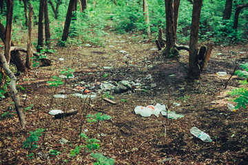 Garbage pile in forest among plants. Toxic plastic into nature everywhere. Rubbish heap in park among vegetation. Contaminated soil. Environmental pollution. Ecological issue. Throw trash anywhere. Wall mural