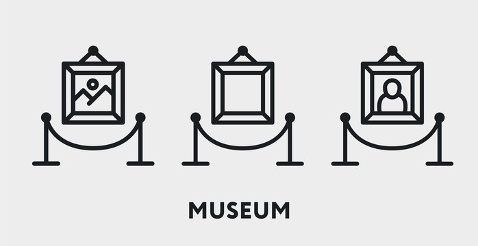 Museum Exhibition Picture Gallery Fencing. Vector Flat Line Icon Illustration.