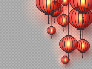 3d Chinese hanging lanterns with glowing lights. Decorative paper cut elements for Chinese New Year, festivals or holiday background. Isolated on transparent. Vector illustration. Fotomurales