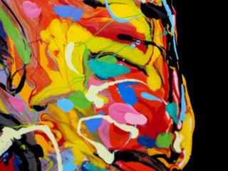 Zelfklevend Fotobehang Paradijsvogel Blur colorful oil paint multi colors abstract background.