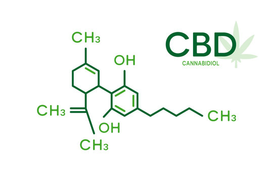 CBD molecular formula. Cannabidiol molecule structure on white background.