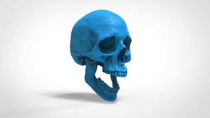 skull 3d printed isolated background