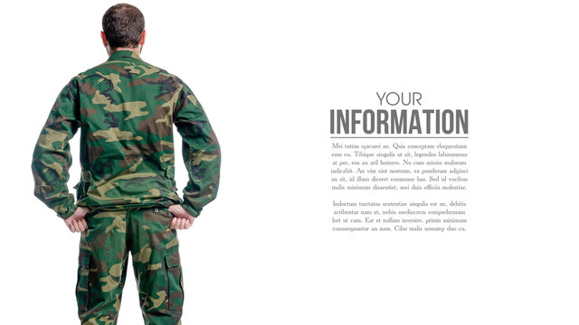 Man in military uniform, camouflage on white background isolation, back view