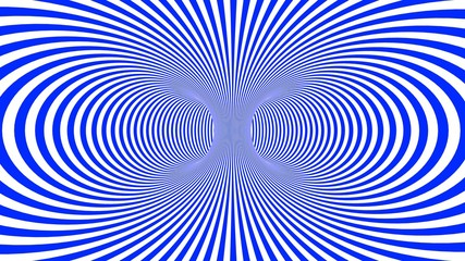 Hypnotic psychedelic illusion background with blue stripes.