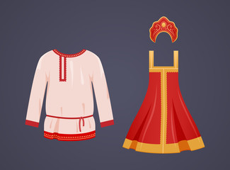 Traditional Russian national clothes are women's and mockup of men white shirt.