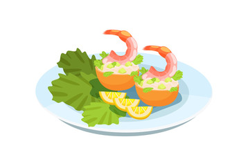 Delicious dish - shrimp, with a delicate salad, greens and lemons.