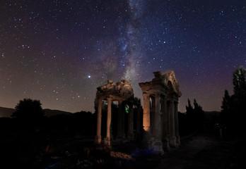 Night star exposure in ancient city of Aphrodisias
