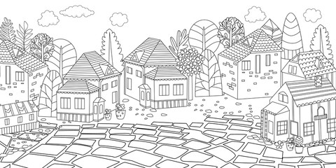 panorama of cityscape for your coloring book