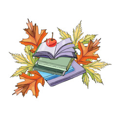 Set of  hand drawn ink and colored  sketch with books, autumn leaves and apple for green press or education projects. Color elements isolated on white background.