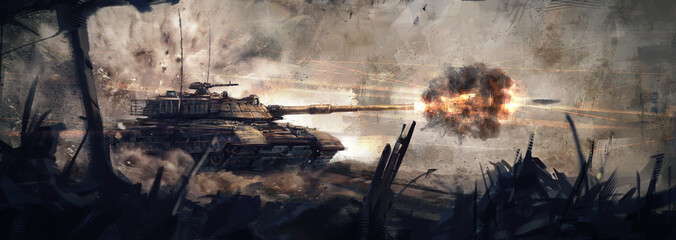 The tank is in battle, firing at the enemy. (Concept Art, Digital Paint) Fototapete