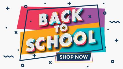 Back to school - colorful typographic sale design template