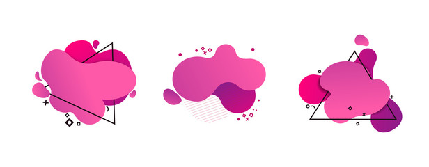 Obraz Set of abstract modern magenta graphic elements. Dynamic colored forms and triangle frames. Gradient abstract banners with flowing liquid shapes. Template for logo, flyer, presentation design. Vector - fototapety do salonu