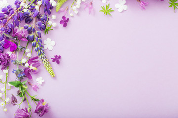 Printed roller blinds Floral purple, blue, pink flowers on paper background