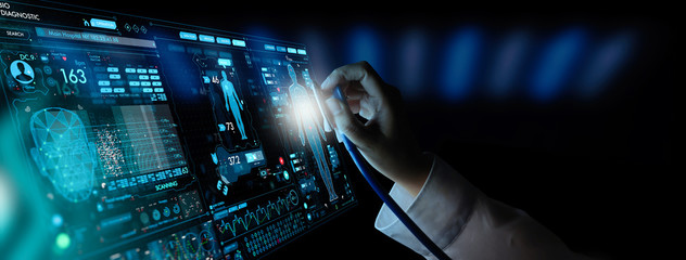 Medicine doctor and stethoscope in hand touching Ui and icon future of medical technology.