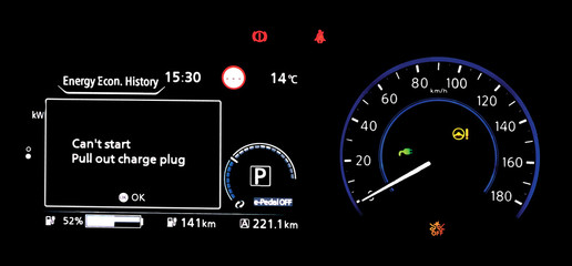 Electric car dashboard panel during charging battery  Modern digital