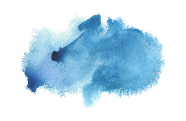 Fototapeta Abstract blue watercolor blot painted background. Isolated. obraz