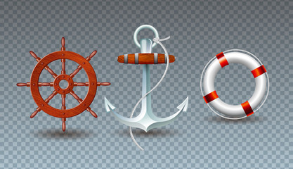 Vector Illustration with Steering Wheel, Anchor and Lifebelt Collection Isolated on Transparent Background. Vector Holiday Design with Sea Sipping Elements Set for Banner, Flyer, Invitation, Brochure