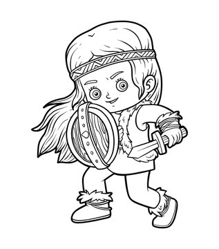 Coloring book, Viking girl with shield and sword