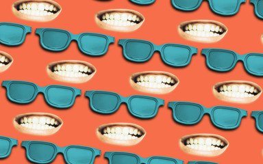 Glasses with open mouth shows a teeth. Beautiful  Creative flat background.
