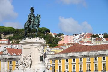 Commerce Square (Portuguese: Praca do Comercio) and statue of King Jose I in Lisbon, Portugal