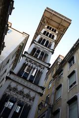 Elevador de Santa Justa Lift seen from Santa Justa Street, Lisbon, Portugal