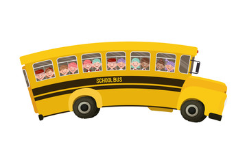 school bus color yellow with students