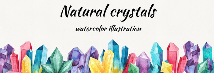 frame made of crystals, clipart, digital image for printing cards or invitations, crystals for website design or social networks,watercolor composition,