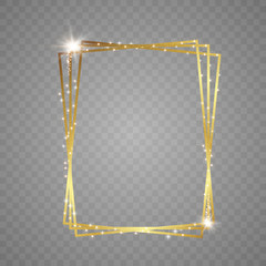 Abstract magical glowing golden banner.Magic circle. Merry Christmas. Round gold shiny frame with light bursts. Gold dust on celebratory banner.