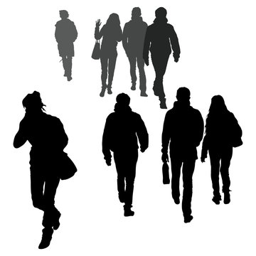 Vector silhouettes of passers-by, people go towards each other, walking, men and women return from work. Hasty and leisurely gait. Talking on the phone on the road.
