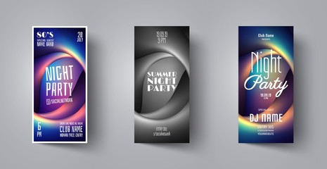 Flyer or Poster for music night club party with abstract background. Vector banner template design for event, disco party, concert, dance club,celebration,dj card. Creative brochure for festival,show.