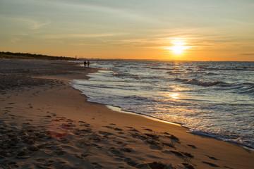 zachód słońca Zatoka gdańska, Plaża w Sobieszewie