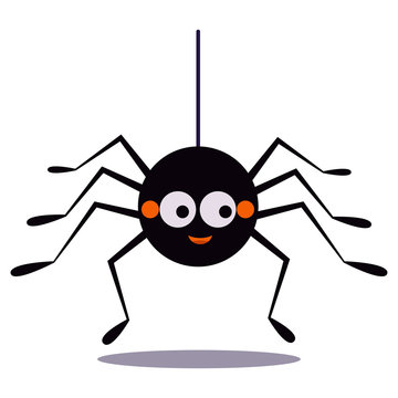 Cute smiling black spider hanging on a string of cobwebs icon isolated on white background. Animal character for the elements of designs to celebrate Halloween party. Flat design vector illustration.
