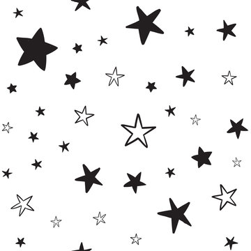 Star doodles seamless pattern. Hand drawn stars texture background.
