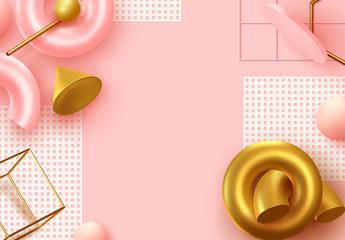 Fotomurales - Background with 3d realistic objects. Minimal abstract composition. backdrop with geometric shapes. Modern banner, web poster. Flat view from the top. Trendy Vector Design Elements. Pink and coral