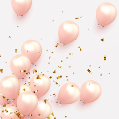 Festive background with helium balloons. Celebrate a birthday, Poster, banner happy anniversary. Realistic decorative design elements. Vector 3d object ballon, pink color.