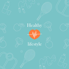 Vector illustration on the theme of a healthy lifestyle for advertising on the site. Vector pattern on blue background on sport and food theme for wrapping paper. Diet food and sports.6